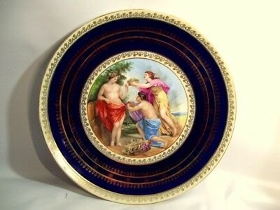 "Royal Vienna 13"" Plate, Figural, Beehive Mark, Hand Painted, Gold Gilt, Cobalt"