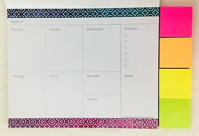 """WEEKLY Planner 52 Pages Moms Family Organizer Calendar 10""""x 8"""" Sticky Notes 2019"""