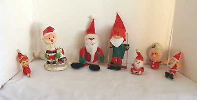 7 Vintage Christmas Ornaments Santa, Elves, Knee Hugger, Etc. Felt & Paper Mache