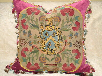 Huge Coat Of Arms Royal Heraldic Crest Needlepoint Tapestry Pillow 27 X  27