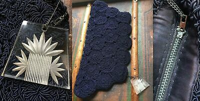 "VTG 40s MIDCENTURY CROCHET 19"" NAVY BLUE CLUTCH PURSE BAG ETCHED LUCITE FOB"