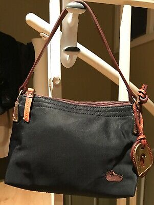 5035666c9faa Dooney   Bourke Black Nylon w Brown Leather Hot Pink Interior Shoulder Hand  Bag