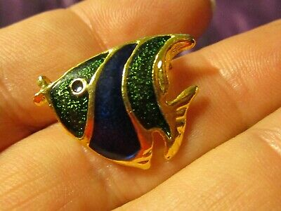 Vintage Fish Pin / Brooch Gold Tone with Enamel  Green Blue