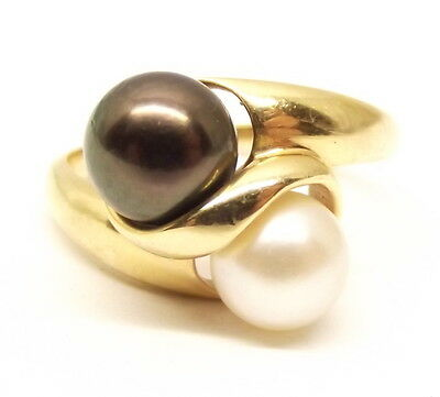 Vtg 14K Yellow Gold Double Cultured Pearl Ring Sz 7.75 Black Tahitian Von Skal