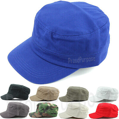 Mens Womens Classic Cotton Army Military Hat Cadet Patrol Style Plain Brim Cap
