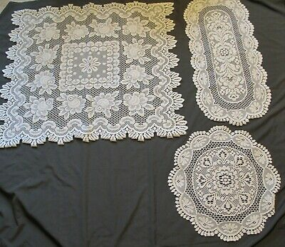 Lot of 3 Ecru/Cream Vintage Heritage Lace-Round Doily-Runner-Square Table Topper