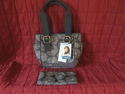 Rachael Ray Insulated Meal Transport Tote Lunch Bag Zippered Brown Floral  +Bonus 5dfd53c23bb3c