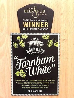 Farnham White Golden Ale Beer Pump Clip Hogs Back Brewery Tongham British Winner