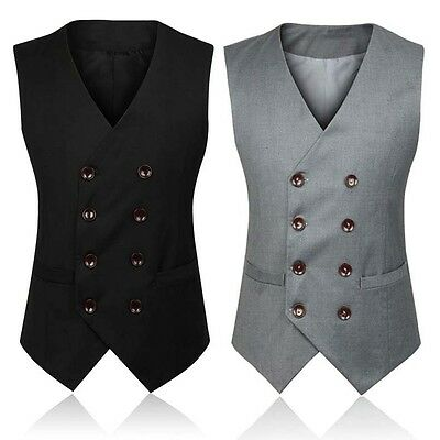 Mens Cotton Blend Bridegroom Suit Dress Waistcoat Wedding Formal Coat Vest Size
