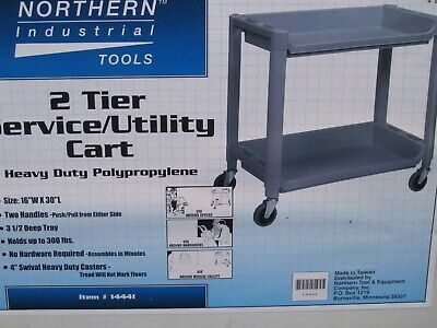 Northern Industrial Tools Heavy Duty Polypropylene 2 Tier Service Utility Cart