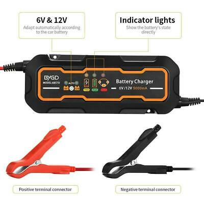 US 6V/12V 3A/5A Smart Portable SUV Motorcycle Car Battery Charger & Maintainer