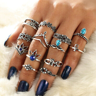 13* 1.5-1.9cm Mixed Retro Women Ancient Silver Finger Knuckle Rings Jewel ZUC