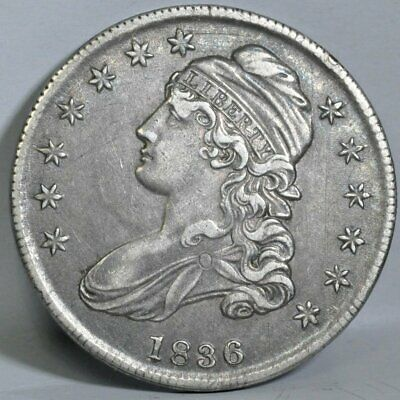 1836 Capped Bust Lettered Edge Half Dollar - AU