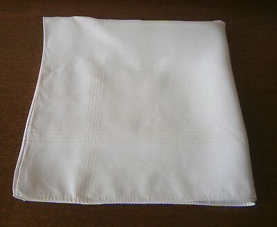 Vintage Large White Rayon Handkerchief Hankie Pocket Square Goodwood Wedding