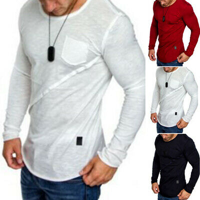 Mens Pullover Round Neck T-shirts Shirt Occident Mens Casual Long Sleeve Slim