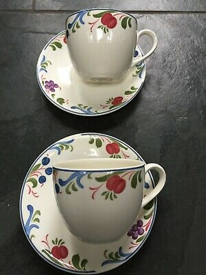 2 Poole Pottery Cranborne cups and saucers..different back stamps see photos