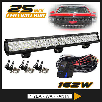 25Inch 162W Dual-Row Led Work Light Bar Spot Flood Fit Offroad Driving Jeep Atv