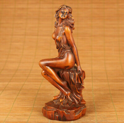 lovely antique old boxwood hand carved belle art statue netsuke table deco