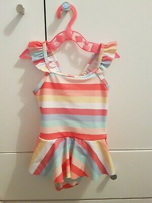 ae324a4eab Asda George Girls Multicoloured Striped Swimming Costume Worn Once (9-12  Months)