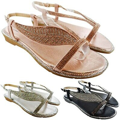 ac1dc4088b1e4f Womens Flat Summer Beach Holiday Vacation Diamante Sandals Ladies Flat Shoes  Sz