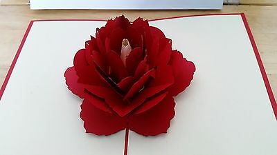 3D Beautiful Red Rose Pop up card.(Valentine's, Engaged, Anniversary, Wedding, B