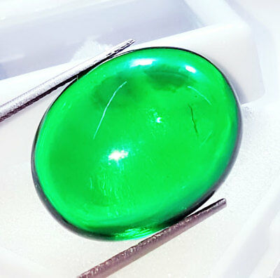 Loose Gemstone Beautiful 35.62 Ct Oval Cabochon Che-tan Panna (Emerald)
