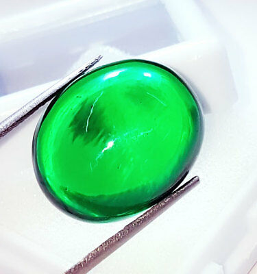 Oval Cabochon Che-tan Panna (Emerald) Loose Gemstone Beautiful 29.37 Ct