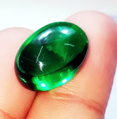 Loose Gemstone Beautiful 22.22 Ct Oval Cabochon Che-tan Panna (Emerald)