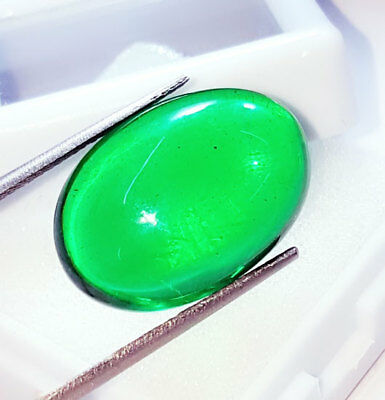 Loose Gemstone Beautiful 25.57 Ct Oval Cabochon Che-tan Panna (Emerald)