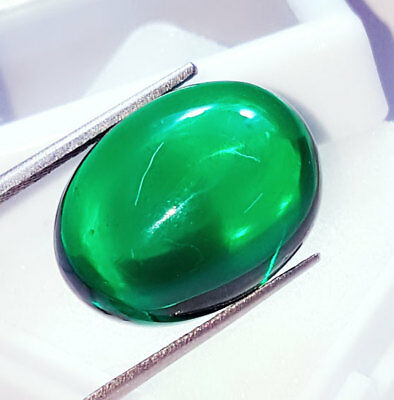 Loose Gemstone Beautiful 33.12 Ct Oval Cabochon Che-tan Panna (Emerald)