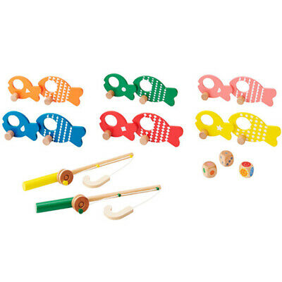 Wooden Colorful Fishing Games Baby Kids Early Education Puzzle Toy Gift B
