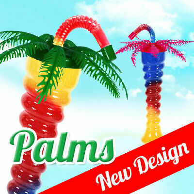 Palm tree Slush yard cup 12oz (350ml) HT1 x 170 cups with lid and straw,twisted,