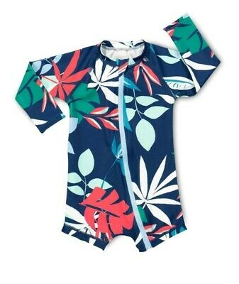 NEW BONDS Swim Boys midnight tropics blue leaf zippy Swimwear -  00 / 3 - 6mth