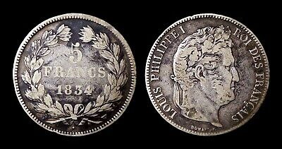 5 Francs 1834W Lille Louis Philippe I Type Domard - Argent 24.30 gr
