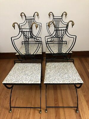 Rare Pair of Neoclassical 1930's Copelon Iron Lyre With Brass Swan Head Chairs