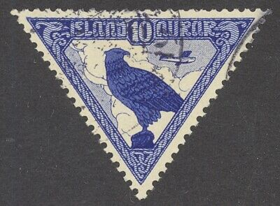 Iceland - Scott C3 - 1930 10 Aur Blue Parliament Triangle Airmail - Used - Nice!