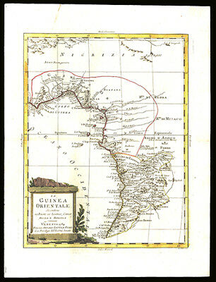 Map of West Africa Nigeria Congo Cameroon   Zatta Colored Copper Engraving