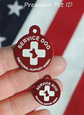 Personalized / Customized engraved EMOTIONAL SUPPORT DOG ID TAG  - USA