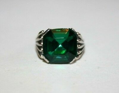 Antique Art Deco Large Octagon Cut 'emerald'? Crystal Chrome Solitaire Ring