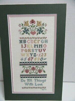 Finished Cross Stitch Do All Things with Love on Linen Sampler Floral Vine