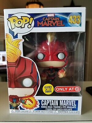 FUNKO POP! CAPTAIN MARVEL GITD GLOW IN DARK #433 TARGET EXCLUSIVE In Hand w/Pro