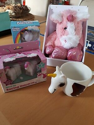 Job Lot Of Unicorn Goodies..Toys Mug Hottie... New.... racing & talking unicorns