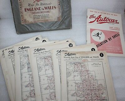 1930's THE AUTOCAR MAP FOR MOTORISTS ENGLAND & WALES + MAP USERS COMPANION