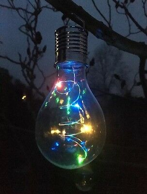 6 Solar Powered MULTICOLOUR CHANGING LED Hanging Light Bulbs Garden Lights