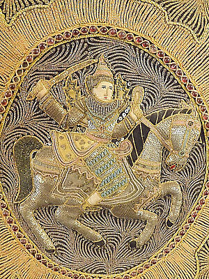 Burmese Kalaga Tapestry With Raised Central Warrior & Horse Panel