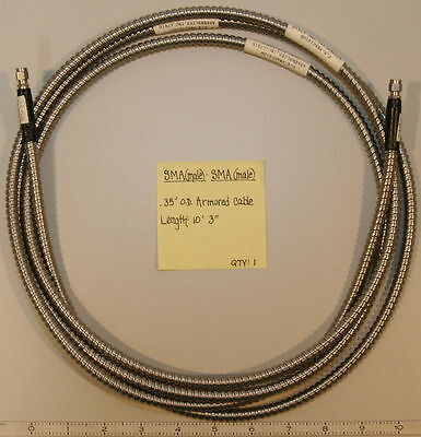 "SMA(Male) to SMA(Male) 0.35 O.D. Armored Cable 10'3""-"