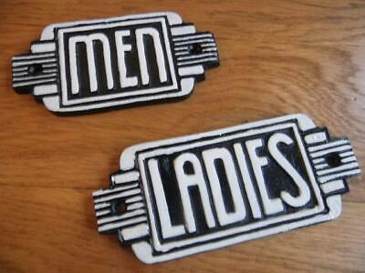 Vintage Black & White Art Deco Cast Iron Signs Door Plaques *Ladies* & *Men*