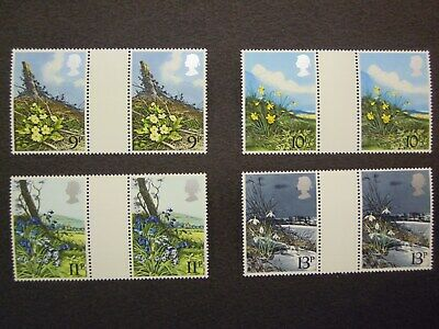 Gb. Commemoratives Spring Flowers 1979 Gutter Pair Mnh Set Sg. 1079/1082