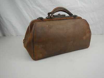 Antique Vintage Doctor's Bag Genuine Leather TAN EARLY 1900'S