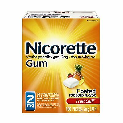 4 Pack Nicorette Nicotine Gum 2mg Fruit Chill Flavor 100 Pieces each